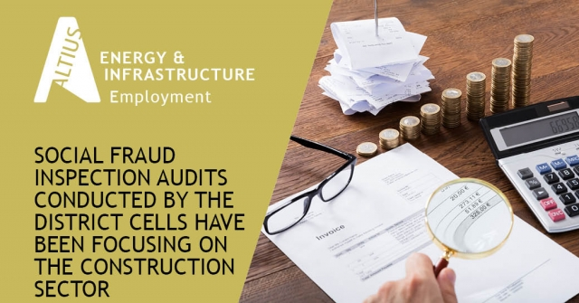 Social fraud inspection audits conducted by the District cells have been focusing on the construction sector: 2020 in retrospect