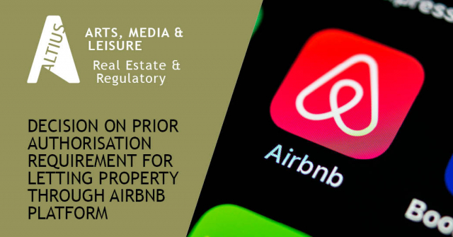 Prior authorisation requirement for letting property through AirBnB platform is consistent with the Services Directive, says European Court of Justice