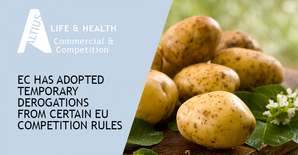 Due to the Covid-19 crisis, the European Commission has adopted temporary derogations from certain EU competition rules in the dairy, flower and potato sectors.