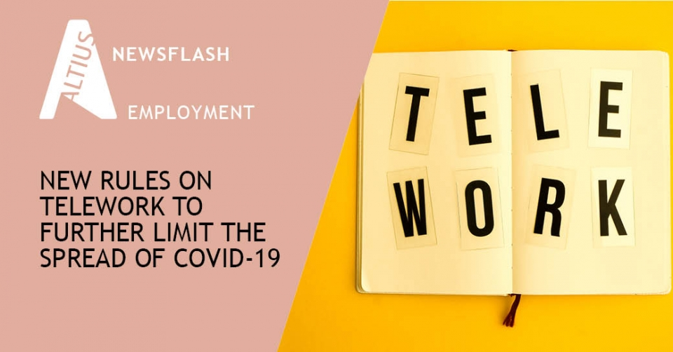 New rules on telework to further limit the spread of Covid-19